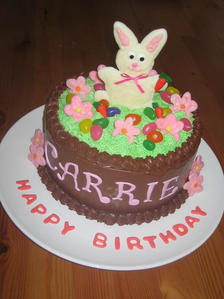 Fantastic Easter Bunny Birthday Cake I Was Asked To Create An Easter Flickr Personalised Birthday Cards Veneteletsinfo