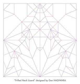 エリマキトカゲ 展開図 / Frill-Necked Lizard crease pattern | by Gen Hagiwara