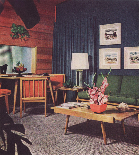 1950s Living Room with Camouflage Draperies | This was taken ...