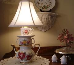 English Roses China Teapot Lamp | by judicreations