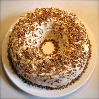 Ginger Ice Cream Spice Cake with Maple Cream Cheese Frosting, Candied Ginger and Pecans