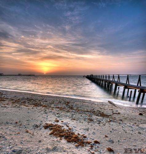 ocean sea sun beach water sunrise pier sand texas unitedstates sony sigma 1020 hdr rockport brandonwatts a700 sigma1020 vertorama sonya700 top20texas