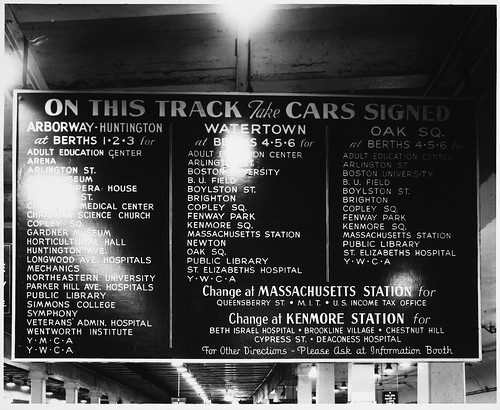 Information Sign with Listings of Destinations, Park Street Subway Station, Interior | by MIT-Libraries
