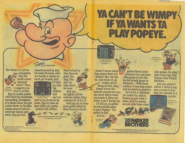 Nintendo's Popeye for Atari/Intellivision/ColecoVision!