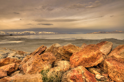 statepark lake mountains beach water clouds marina sunrise landscape utah ut nikon rocks saltlake greatsaltlake dslr hdr gsl d90 nikond90