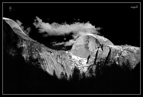 Moon rise over Yosemite valley (B&W) | by Nagesh Kamath
