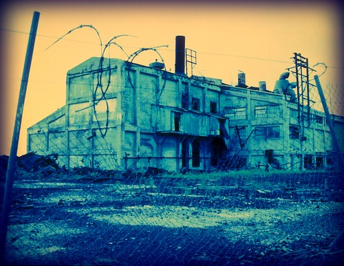 old travel blue arizona green abandoned industry film architecture analog fence industrial decay crossprocess grunge barbedwire weathered fairchild mcnary notrespassing keepout lumbermill mamiyarz67 ericfairchild efphoto fairchildphoto ©ericfairchild