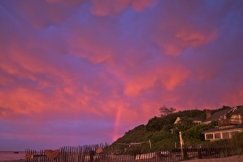 sunset sky beach clouds rainbow
