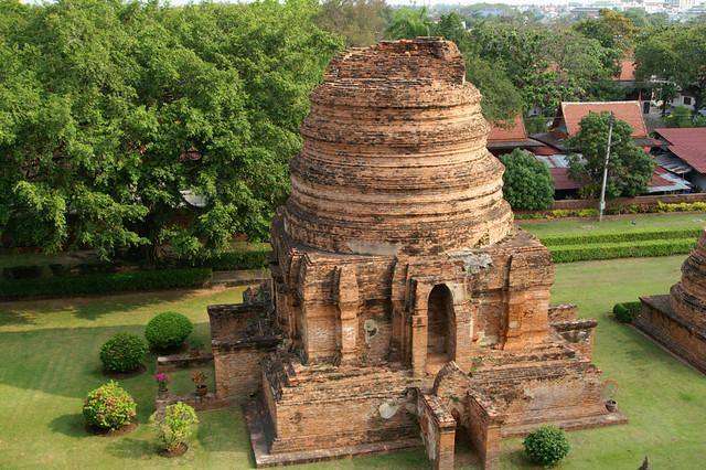Ruins of a chedi at Wat Yai Chai Mongkol near Ayutthaya, Thailand
