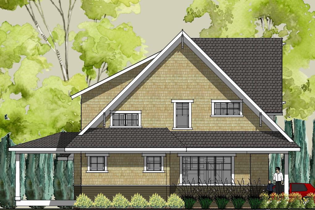 Stillwater craftsman house plan left elevation | House ...