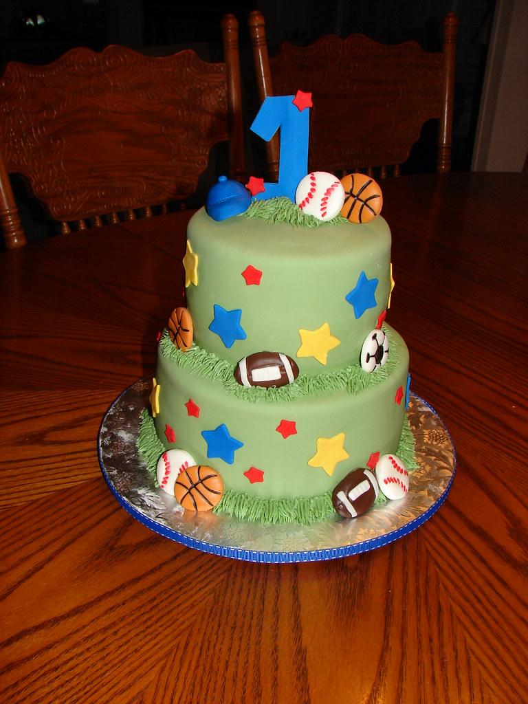 1st Birthday Sports Theme Cake