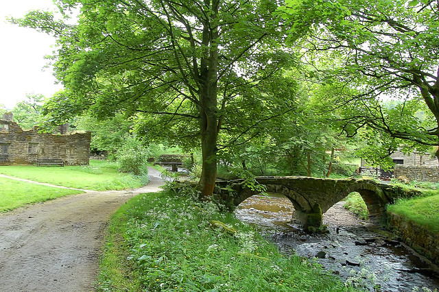 Clapper and Pack-horse bridges over the beck at Wycoller