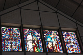 4 Stained glass windows, prefab church by Gustave Eiffle, Inglesia Santa Barbara de Santa Rosalia, Baja California Sur, Mexico