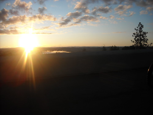 morning sunrise driving commute i80 foresthill