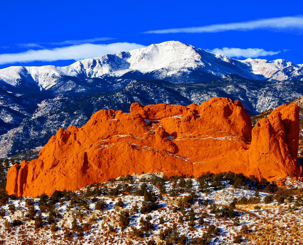 Sweet America Pikes Peak Mounatin From Garden Of The Gods