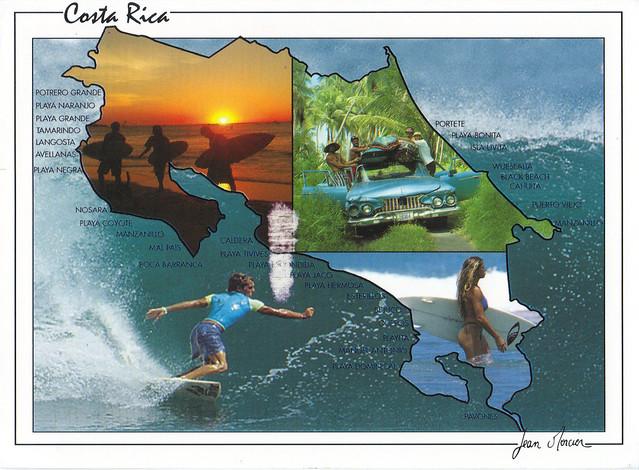 Costa Rica Surfing Map Postcard