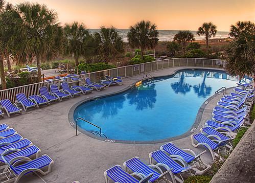 ocean trees sunset vacation beach pool reflections nikon south north palm atlantic carolina myrtle nikkor hdr vr shorecrest d90 1685