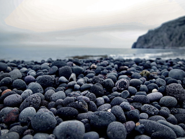 Lava ball beach in Santorini