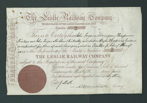 Leslie Railway Share Certificate of 1863 | by ian.dinmore