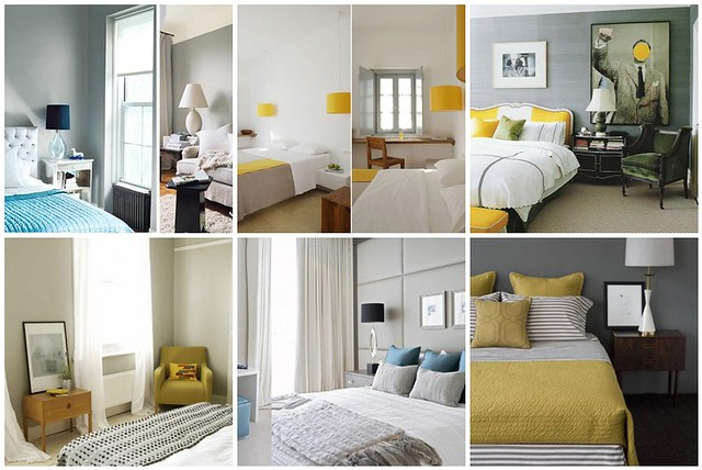 Bedroom Inspiration - gray, yellow & turquoise   1. Grey bed ...