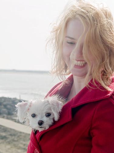 city woman dog pet cute girl beautiful animal docks puppy harbor washington furry girlfriend pretty unitedstates fuzzy critter pup maltese westport pooch creature karrin grays graysharbor moxxie