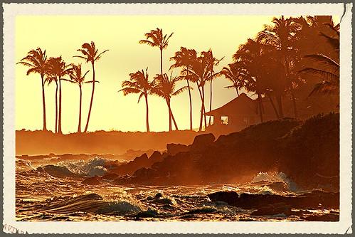 ocean sepia hawaii waves zoom shore kauai april 2009 lawaibay