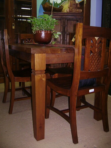 Teak Dining Table With Pineapple Carving Chairs WorldWid