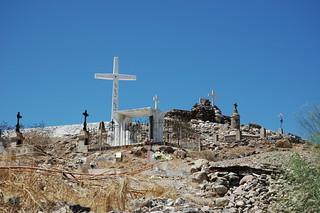Crosses at the summit of cemetery, San Rosalia, Baja California Sur, Mexico