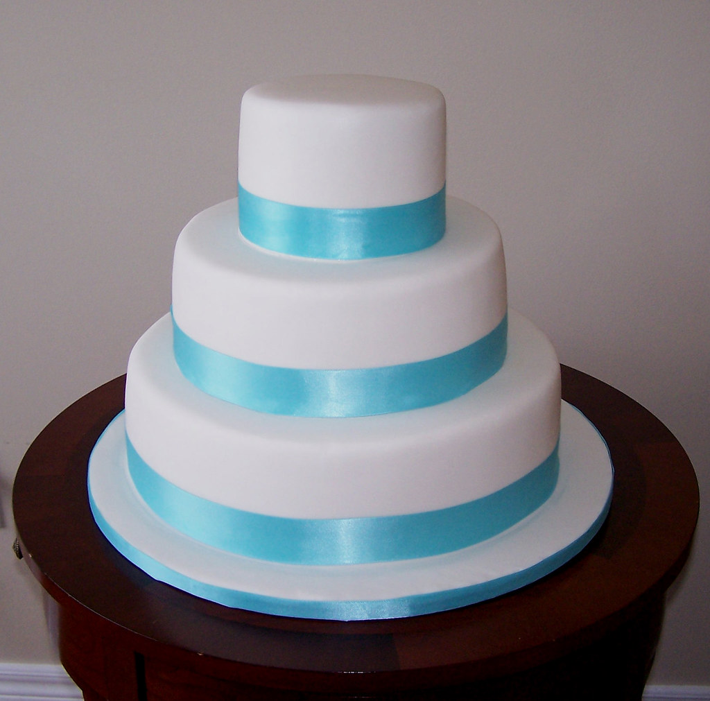 Tiffany Blue Ribbon Wedding Cake Cake Covered In Fondant A Flickr