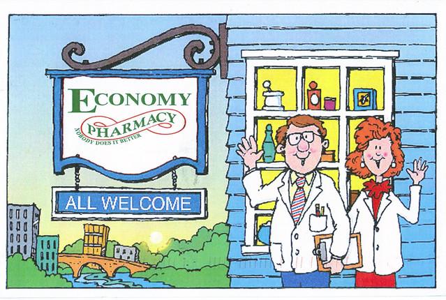 Economy Pharmacy Ad Postcard