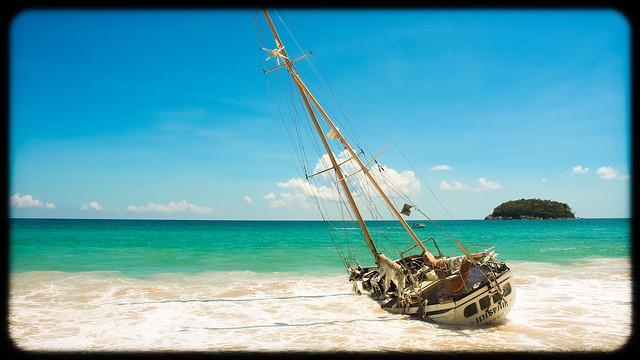 Abandoned Ship(wreck) at Kata beach Phuket island Thailand