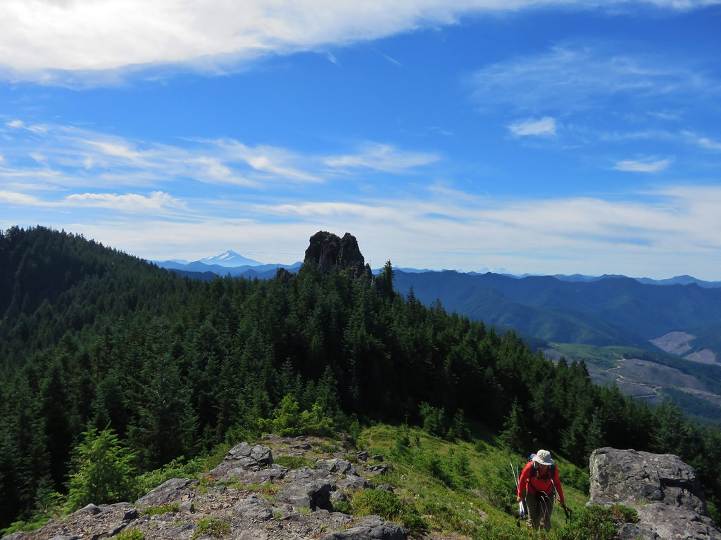 Mt. Jefferson to the left and the Three Sister to the right of Rooster Rock