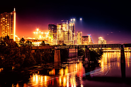 longexposure bridge summer water architecture night austin river us cityscape texas exterior unitedstates officebuilding highrise towerblock