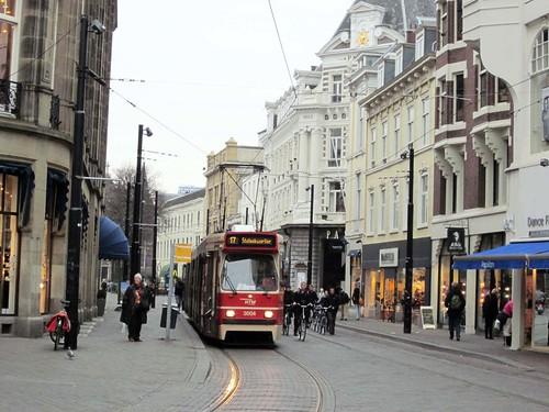 light rail transit on a downtown pedestrian