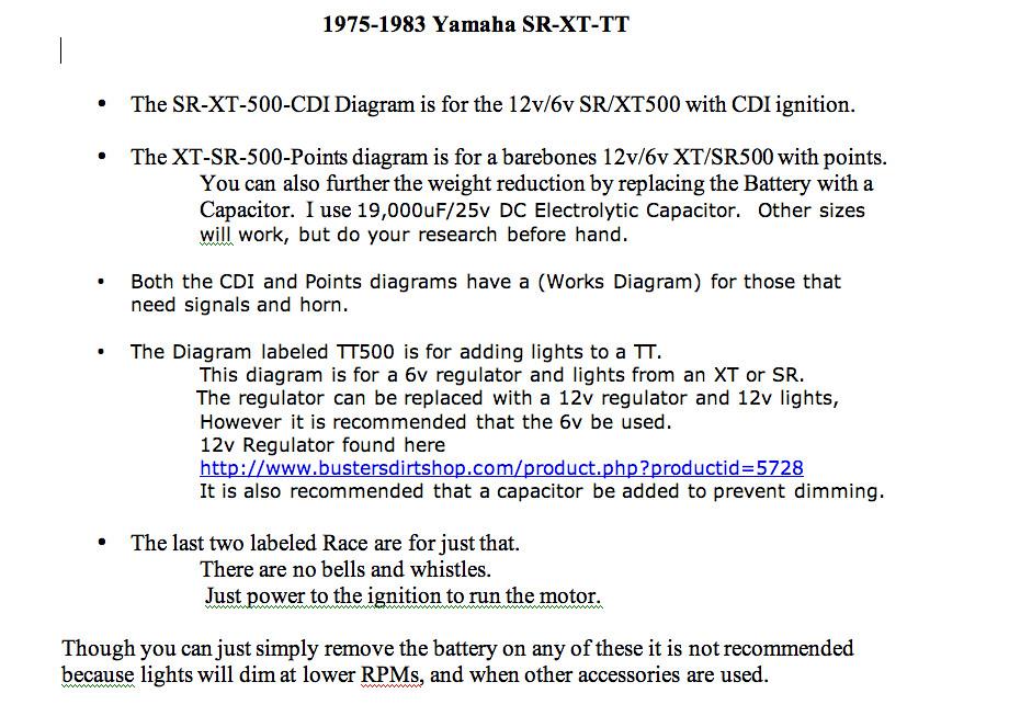 Yamaha SR/XT/TT simple wiring diagrams | Flickr on