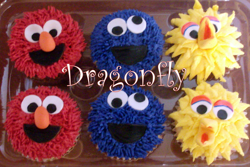 Sesame Street Cupcakes | 100% edible www dragonflycustomcake… | Flickr
