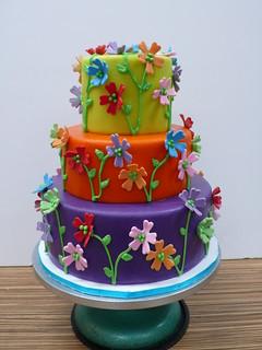 Colorful garden party cake