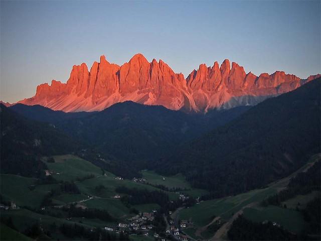 enrosadira in Val di Funes