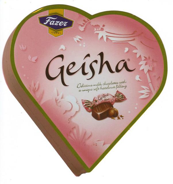 Geisha Chocolate Heart Shaped Finnish Ad Postcard