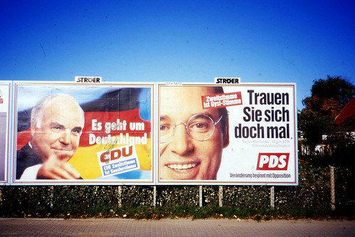 German Election Posters, Helmut Kohl, Gregor Gysi,  Rostock, Oct 1994 | by sludgegulper