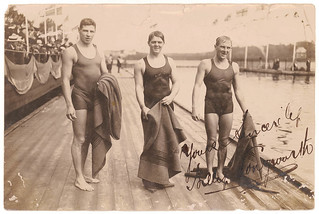 Harold Hardwick, William Longworth and [either Australian Leslie Boardman or Malcom Champion of New Zealand, right], Stockholm Olympics, 1912 / unknown photographer
