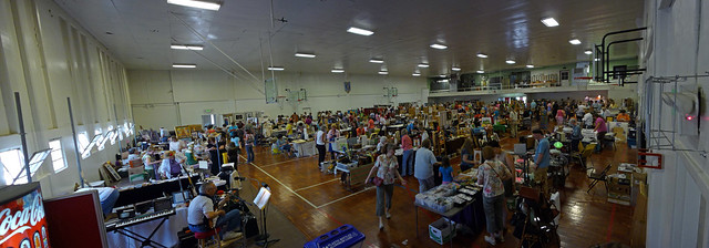 Garage sale wide angle view