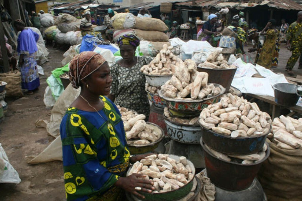 """""""Women traders selling dried yam tubers"""" by IITA Image Library is licensed under CC BY-NC 2.0"""