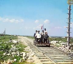 On the trolley near Petrozavodsk by Murman Railway, 1915 | by Sergey Prokudin-Gorsky