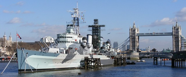 H.M.S Belfast on the River Thames with Tower Bridge,Tower of London and the city in the backgound!
