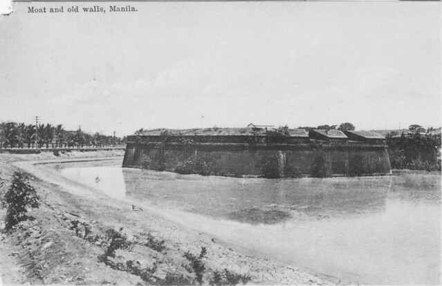 Walls and surrounding moat of Intramuros, unknown date but probably 1800s
