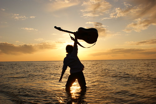 ocean sunset beach guitar silouette
