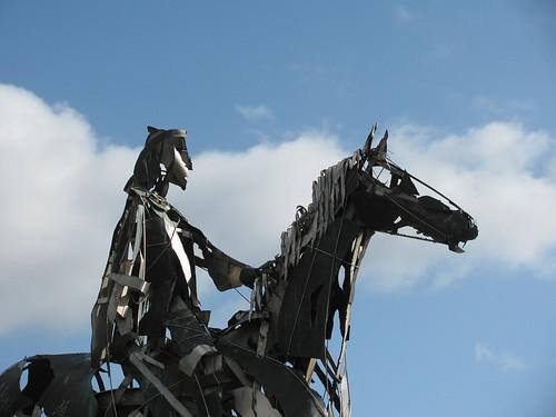 ireland statues n4 countyroscommon mauriceharron gaelicchieftain warrioronahorse loughkeyviewingbay sheegorey