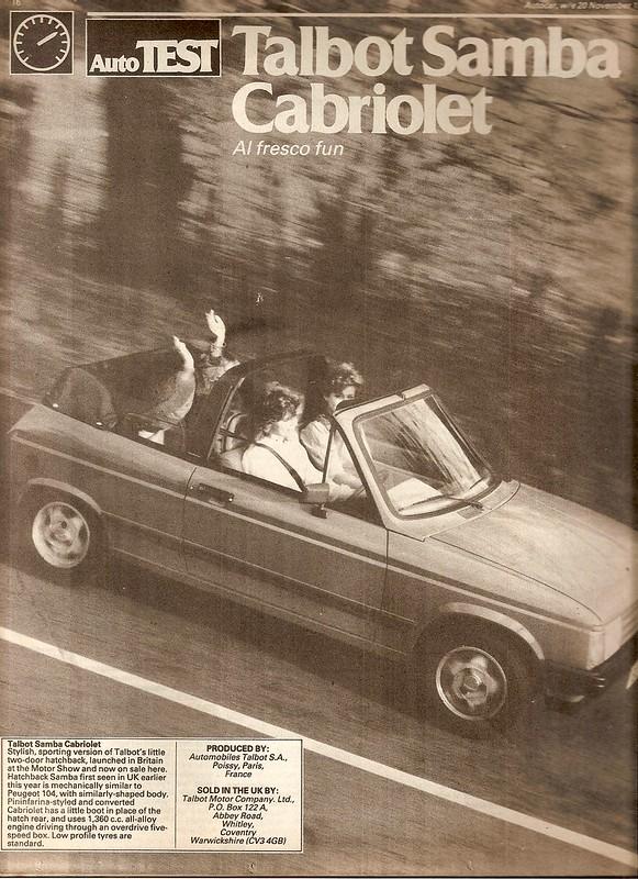 Talbot Samba 1.4 Cabriolet Test 1982 1