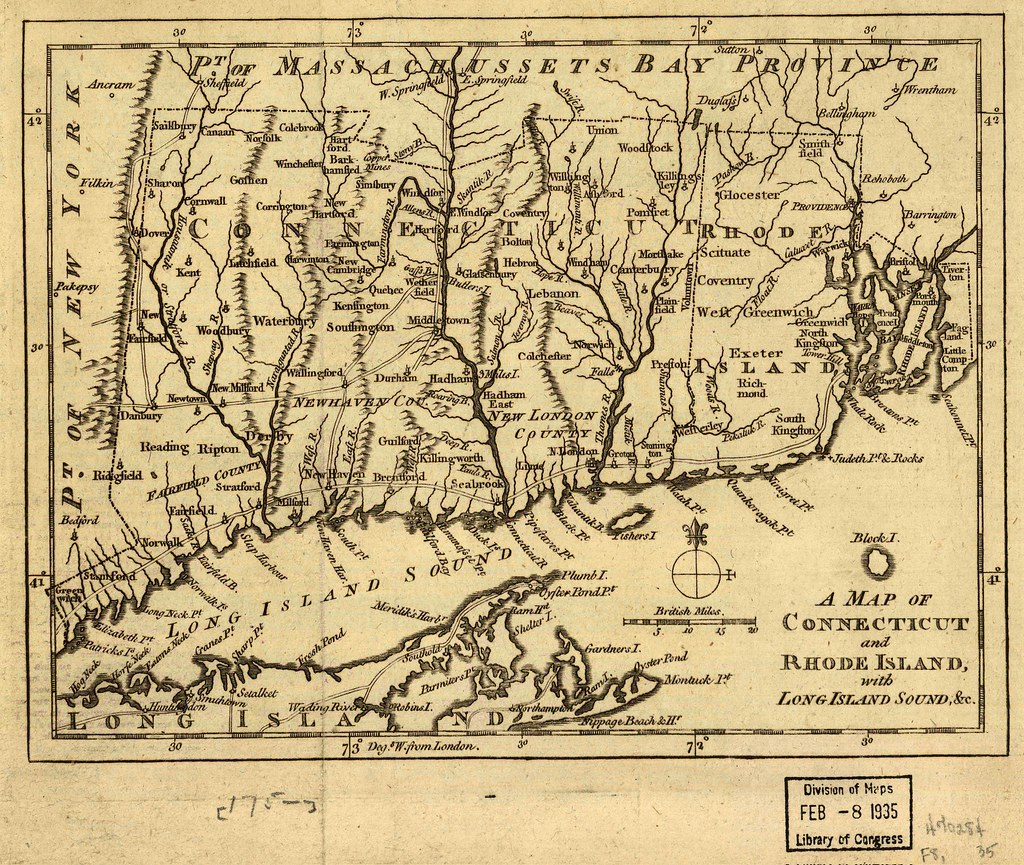 A map of Connecticut and Rhode Island, with Long Island So ...
